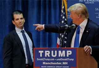 caption contest of Donald Trump Pointing at his son Donald Jr