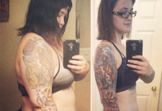 tattoo selfies side by side to show weight loss