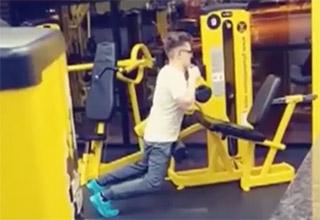 Little nerd boy humps gym equipment