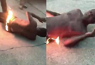 guy lights himself on fire