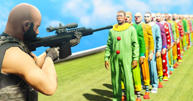 Guy Attempts TO Kill 100 Clowns With a Single Shot in GTA 5