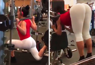 girl working out with white yoga pants
