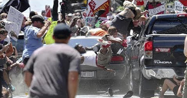 peaceful protesters being run over by car