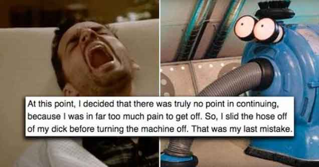 Guy Learns The Hard Way That Putting Your Dick Into A Vacuum Is A BAD Idea