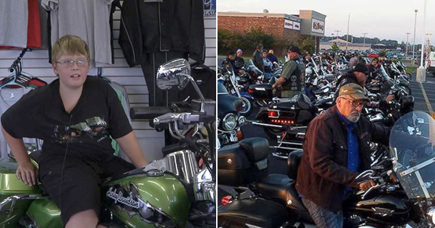 50 Bikers Escort Bullied Boy To First Day of Middle School
