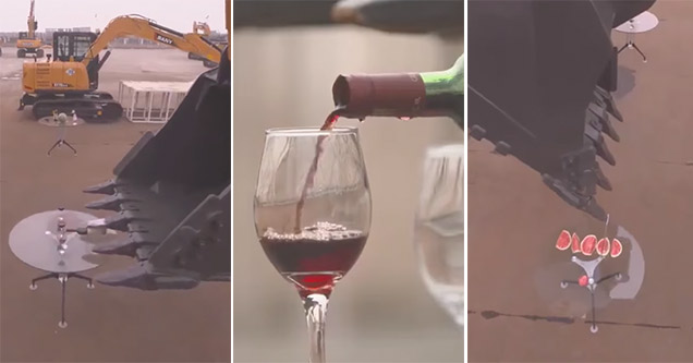 Pouring a glass of wine using excavator in China