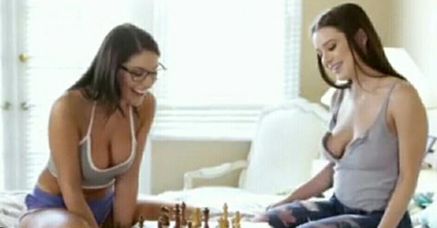 hot girls playing chess