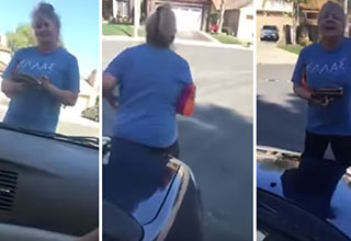 crazy lady tries to arrest a family of mexicans