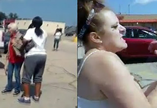 trailer chick tries to steal a purse