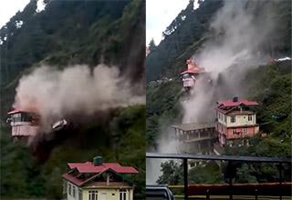 india landslide takes car off cliff