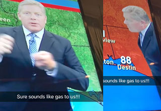 farting weatherman breaks wind