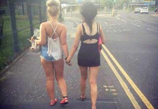 girls doing the walk of shame
