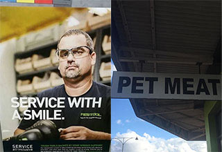 Service with No Smile and Pet Meat - designs that failed