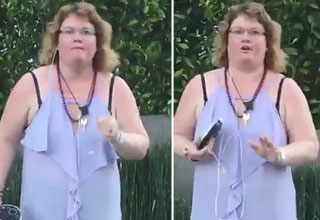 this woman looses her mind after man starts praying for her