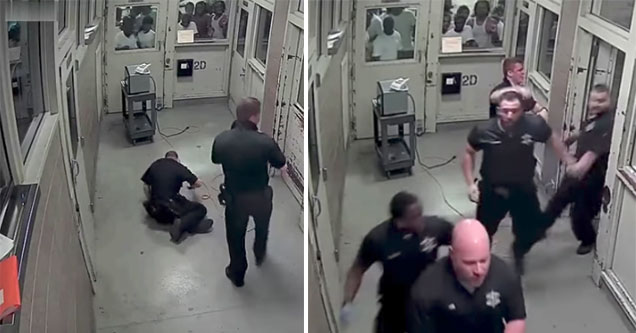 cops respond to a correctional officer being jumped by inmates
