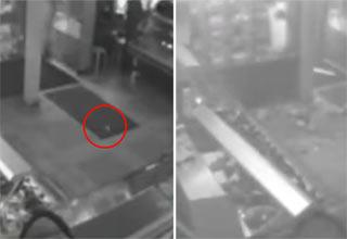 Security camera of Grenade thrown into supermarket