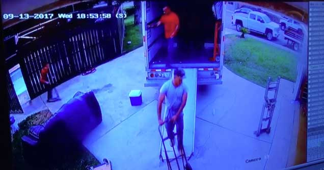 mover caught on camera trying to fake injury for money
