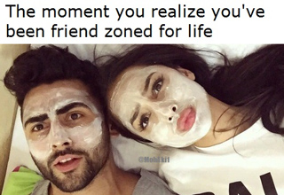 friend zone for life - man and women wearing facemasks treatments together