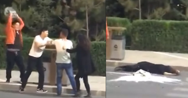 Guy Accidently KO's Girl With A Case Of Beer