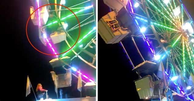 screenshot of video where a fair worker falls off ferris wheel