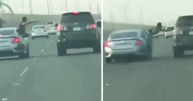 guy jumping out of car on freeway