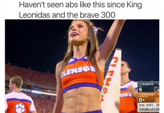 Clemson cheerleader with six pack abs