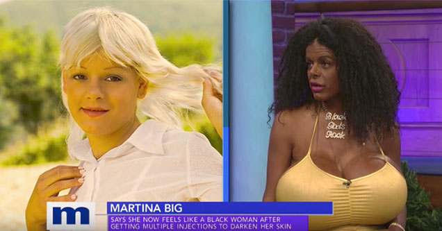 Woman with huge boobs has always wanted to be a black woman