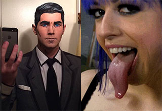 Man cosplaying as Archer and girl with freakish long tongue