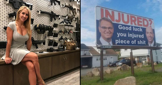 Hot girl selling assault rifles and funny injury lawyer billboard