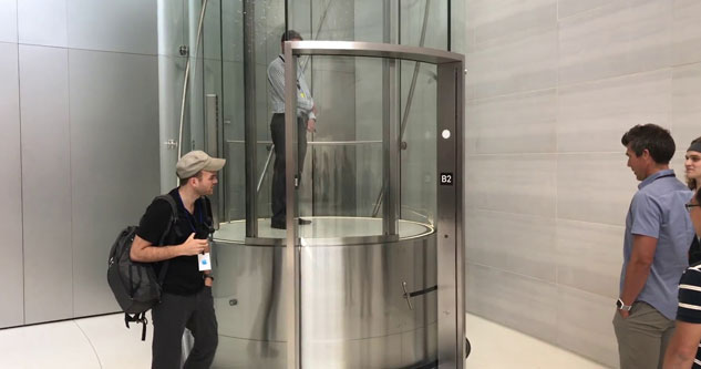 Awesome Glass Elevator in the Steve Jobs Theater