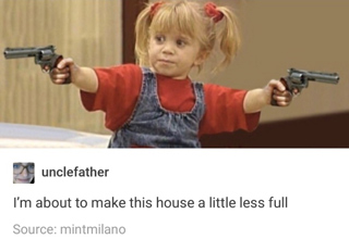 Michelle Tanner on full house holding a revolver in each hand
