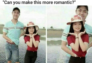 Funny photoshop to make pic more romantic