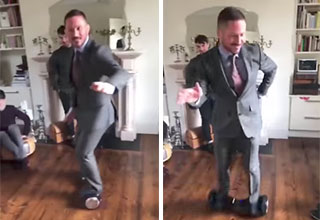 McGregor's coach eats it on a hoverboard