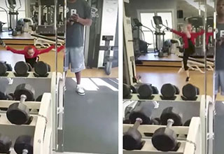 funny lady creates her own workout