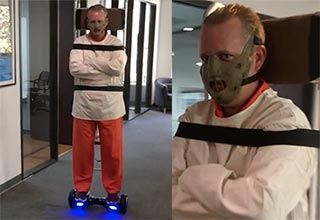 guy on hover board wins halloween