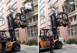 two idiots using two forklifts