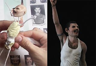 creepy freddie mercury sculpture