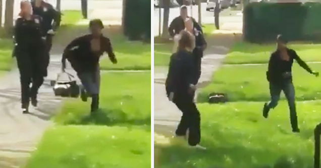 woman running from the police
