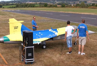 Huge RC Jet  Disintegrates After Takeoff