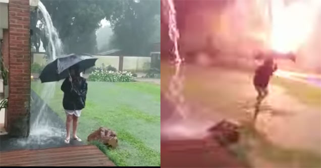 kid almost gets destroyed by lightning
