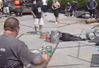 Dude Nearly Kills Himself During A Keg Throwing Contest