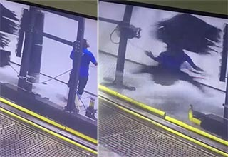 Carwash employee gets caught up in the machinery