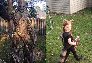 groot suit with awesome dad