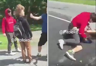 bully gets a beatdown after throwing a sucker punch