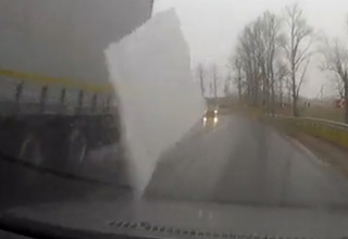 Sheet Of Ice Flies Off Truck And Shatters Man's Windshield