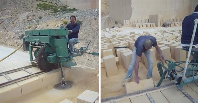 This stone cutting machine is mesmerizing