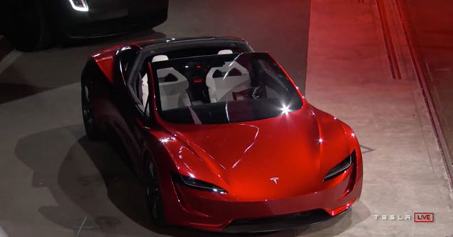 tesla introduces their new roadster