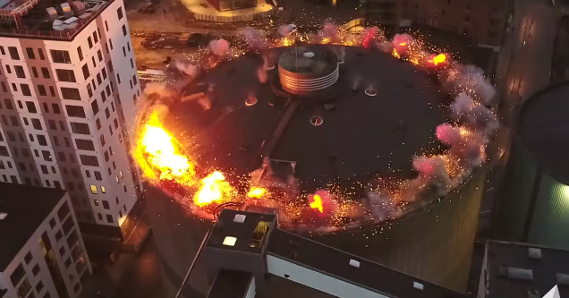 Demolition Crew Blows The Lid Off A HUGE Oil Storage Tank