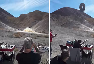 shooting tires filled with explosives