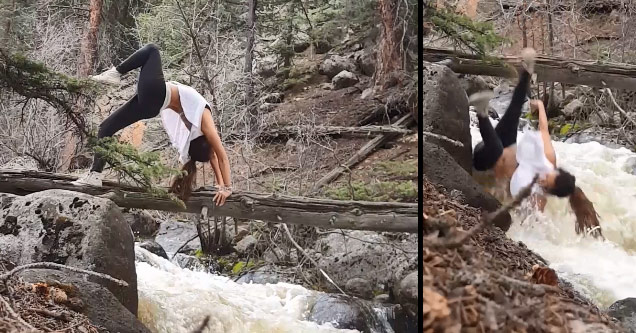 Yoga Babe Takes A Nasty Spill In The Woods